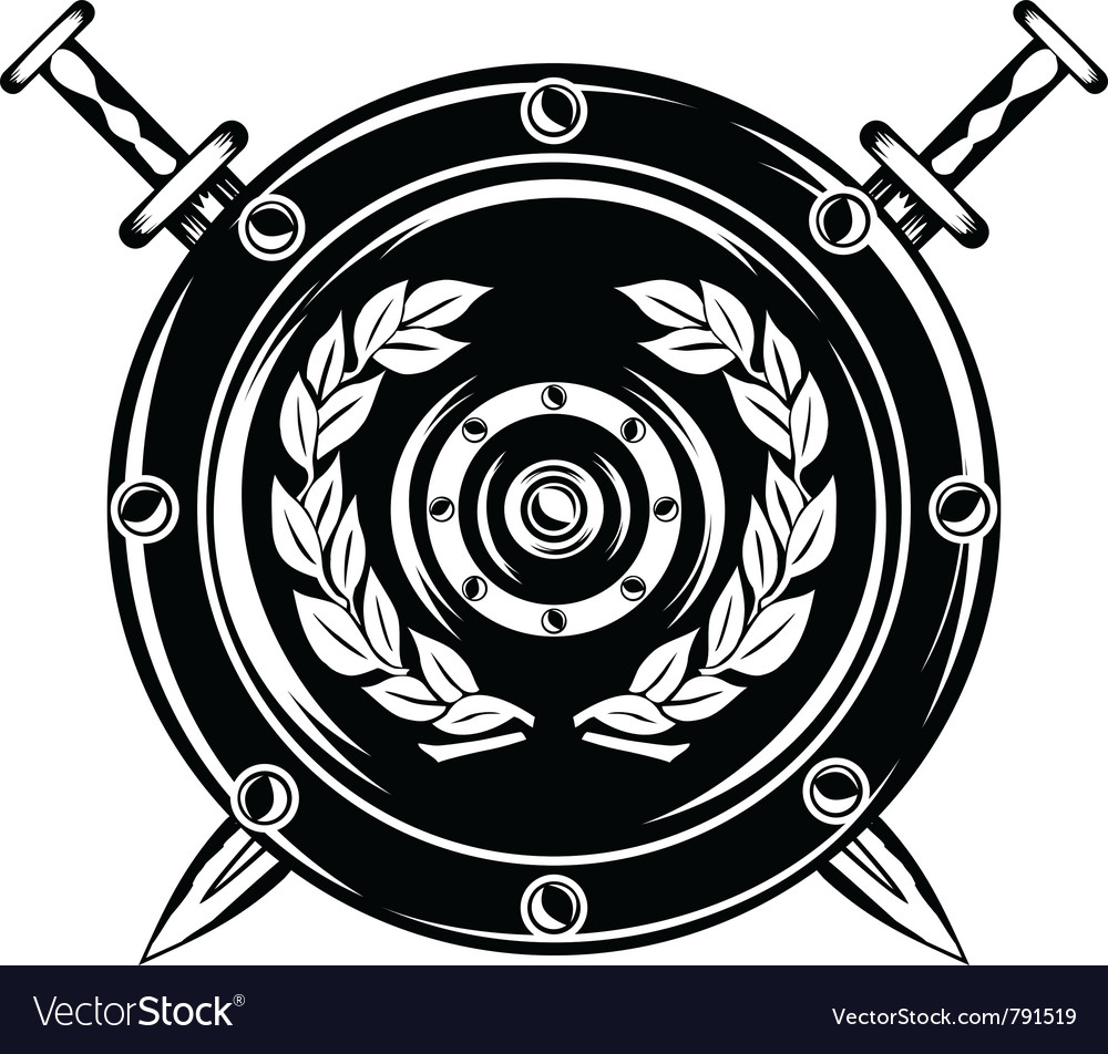 Shield and crossed swords vector