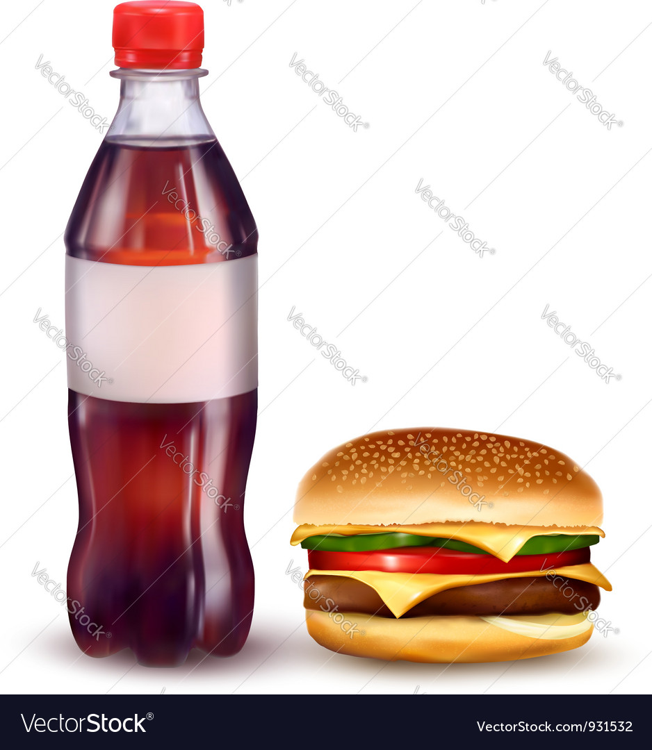 Hamburger and cola vector
