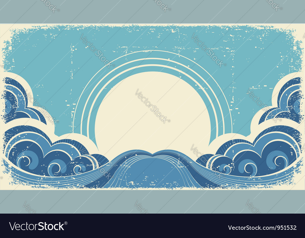 Vintage sea waves and sunabstract nature image vector