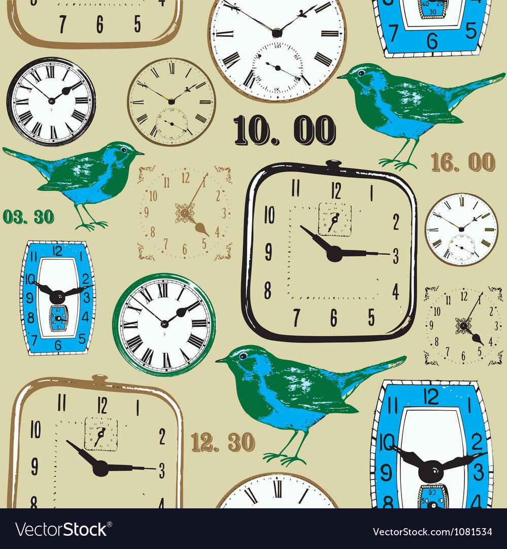 Retro birds clocks pattern vector