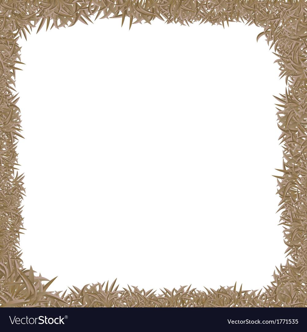 Dry grass frame vector