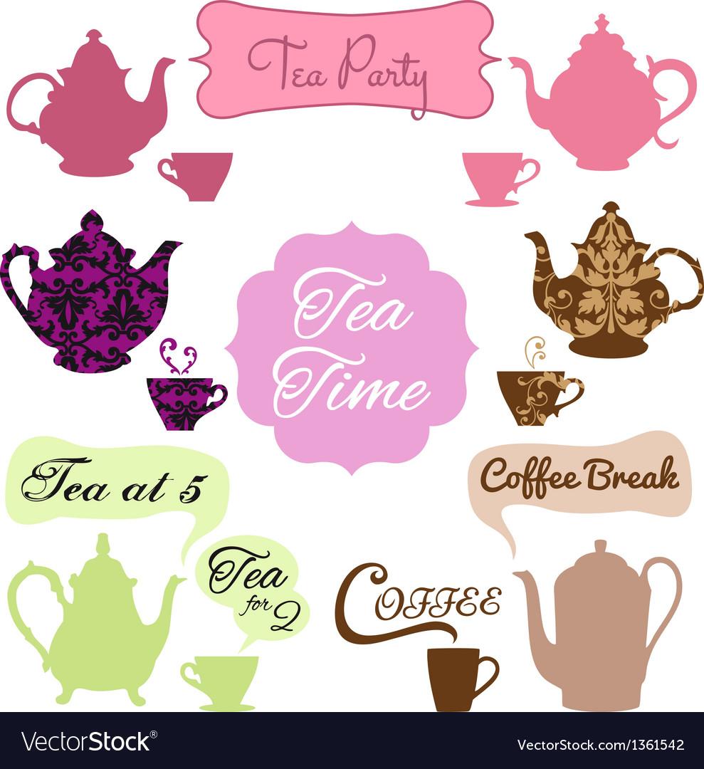 Tea time coffee break vector