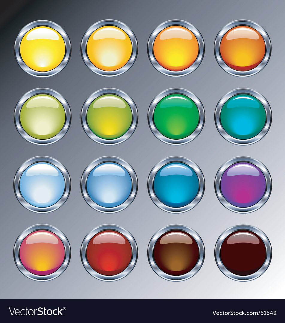 Glass and chrome buttons vector
