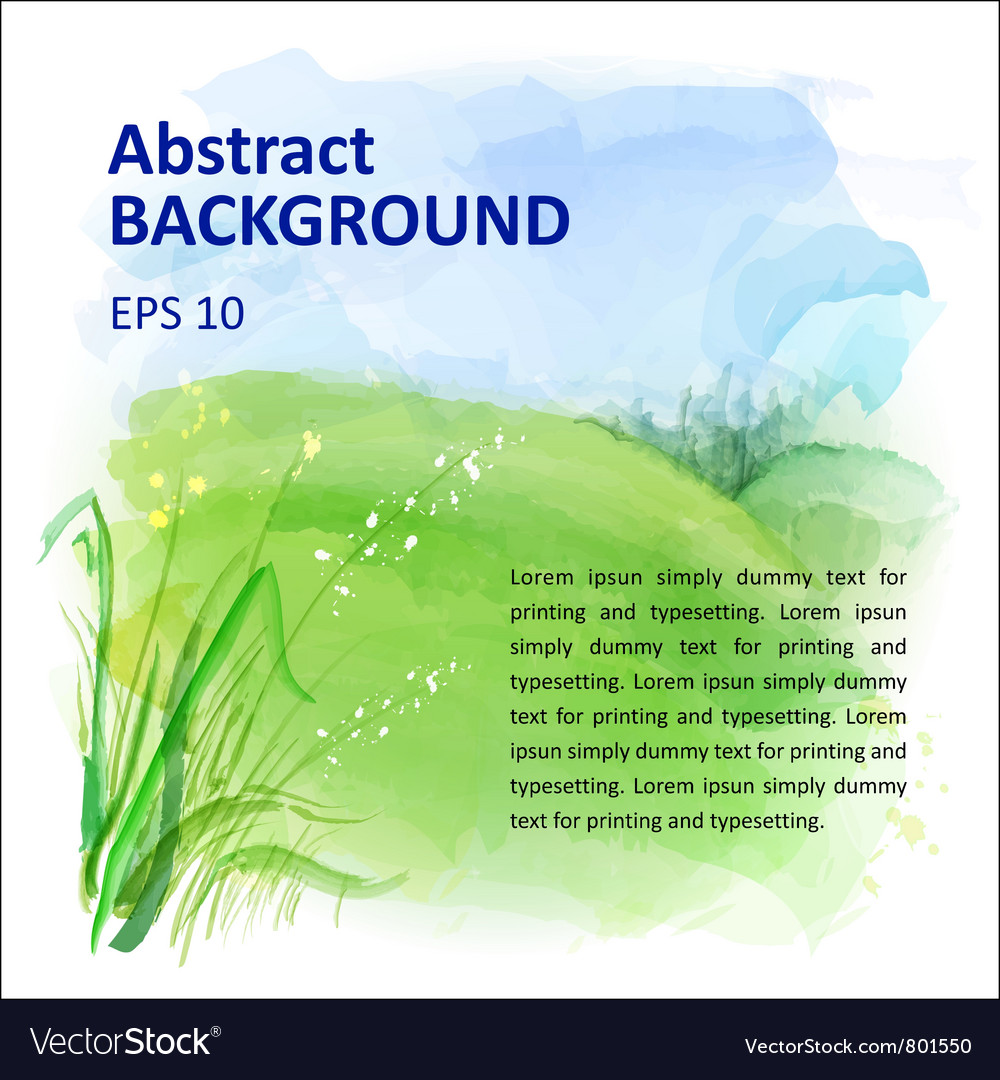 Background of watercolor landscape vector