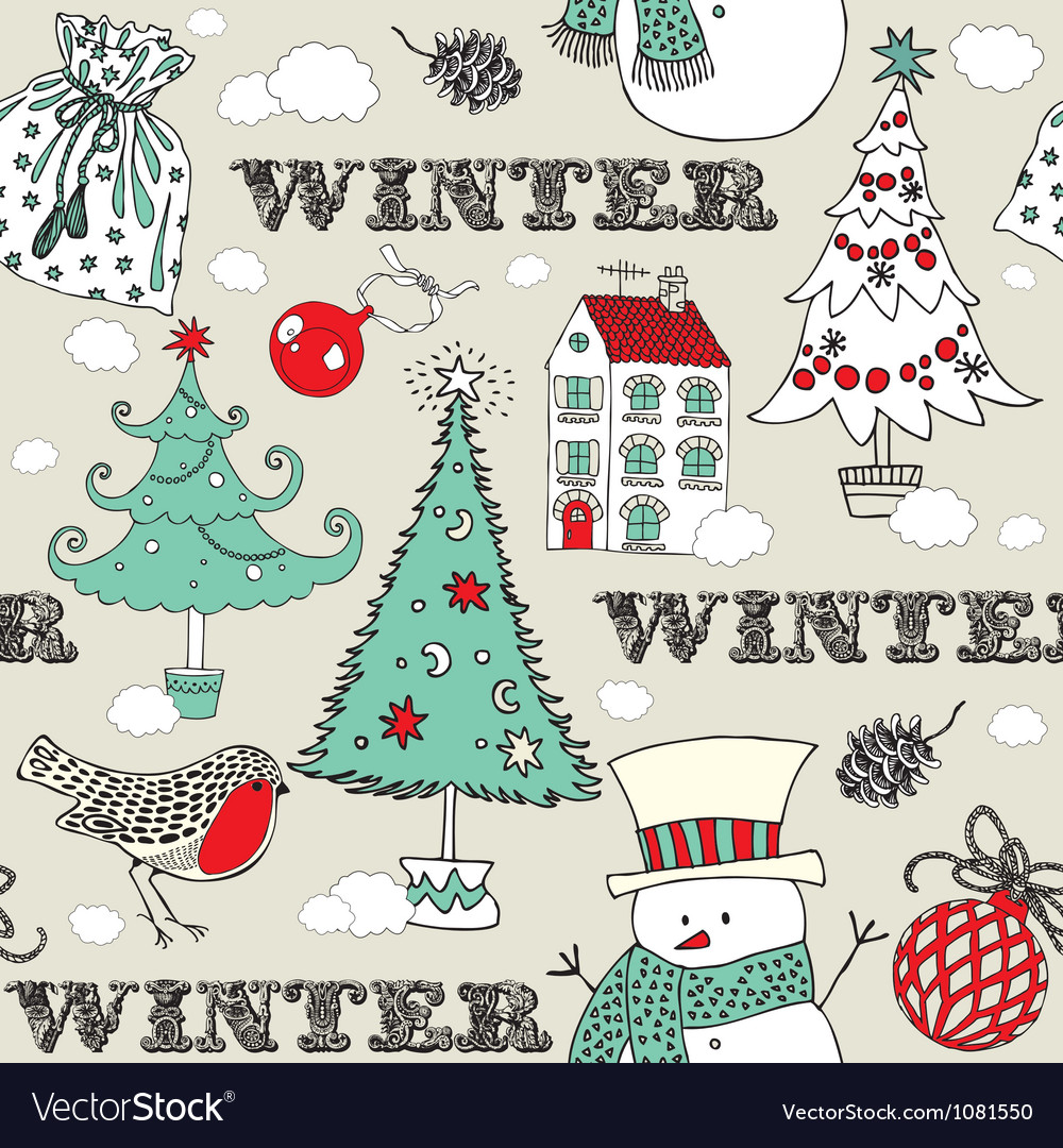 Vintage christmas winter pattern vector