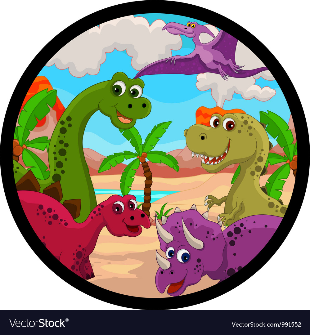 Funny dinosaur cartoon set vector