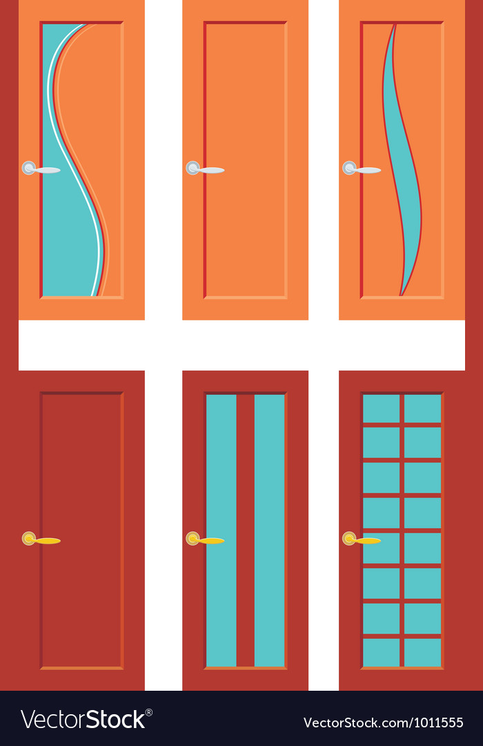 Set of doors for rooms vector