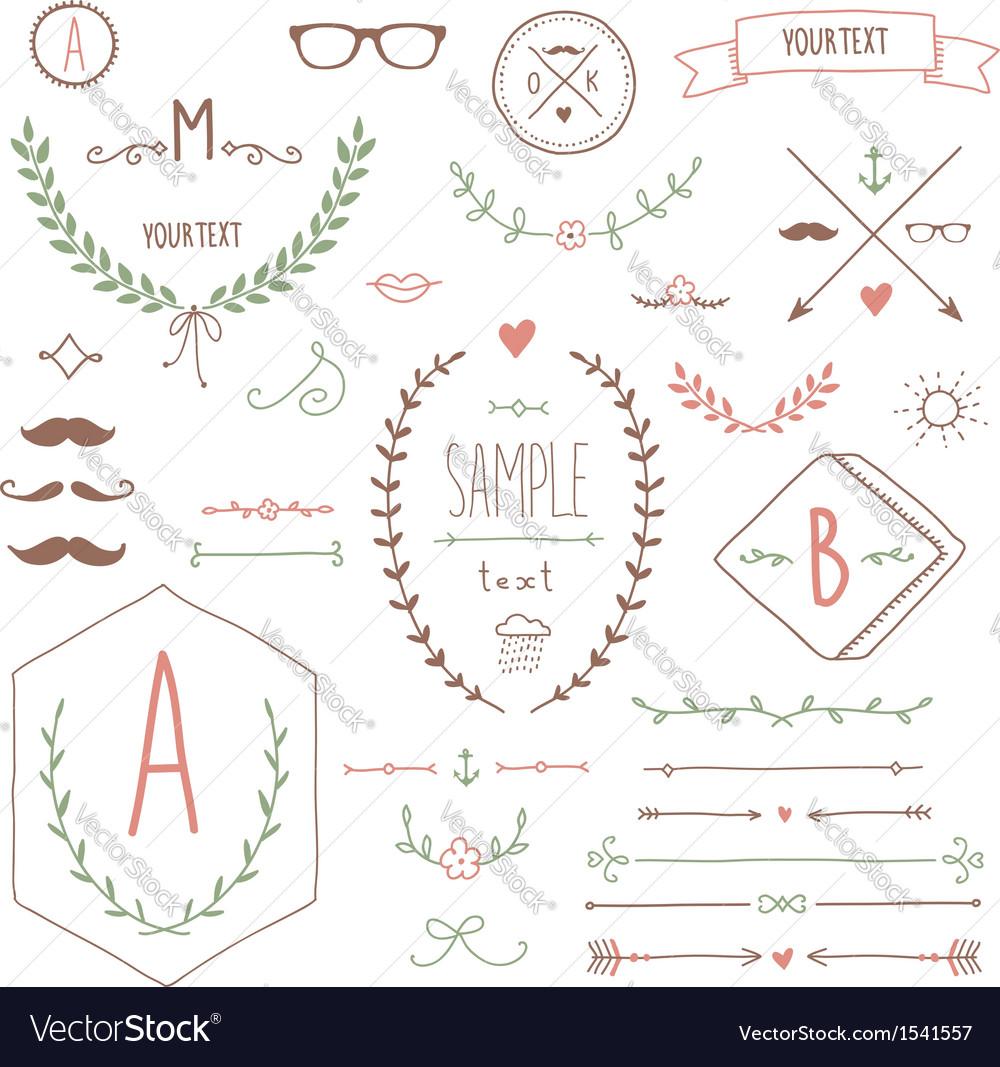 Hipster set vector