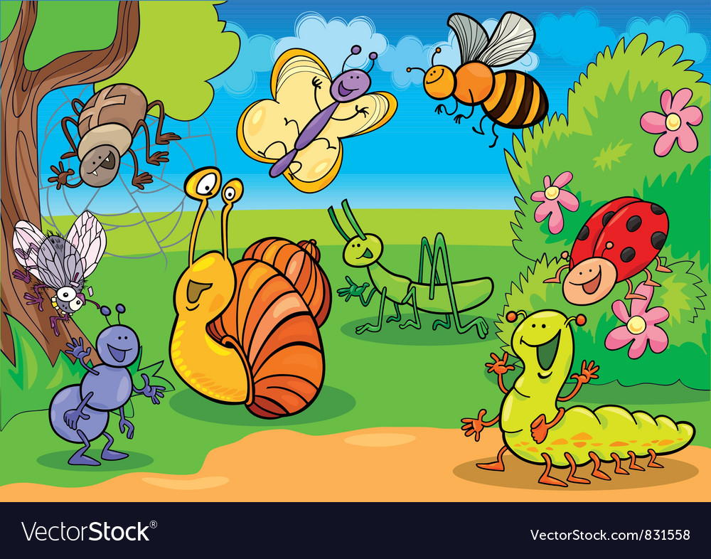 Happy bugs set vector
