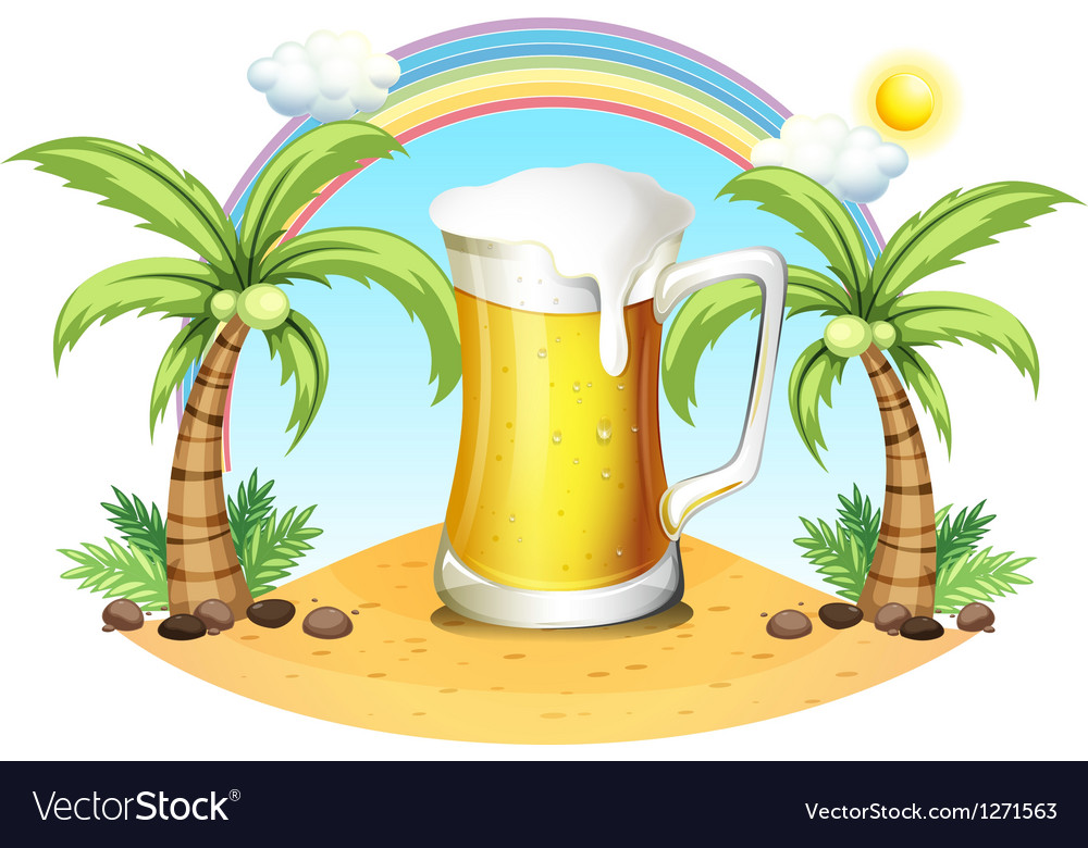 A giant mug of beer near the coconut trees vector
