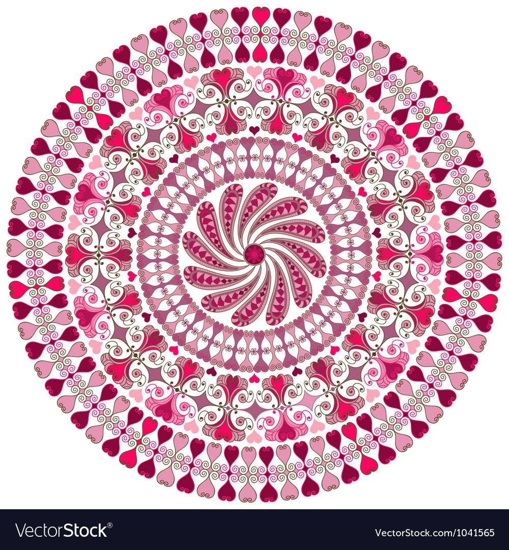 Valentine round frame vector