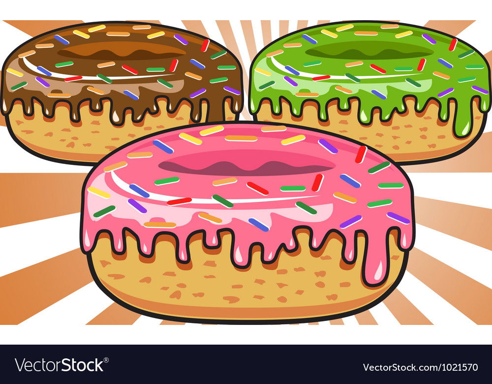 Donuts on sunburst background vector