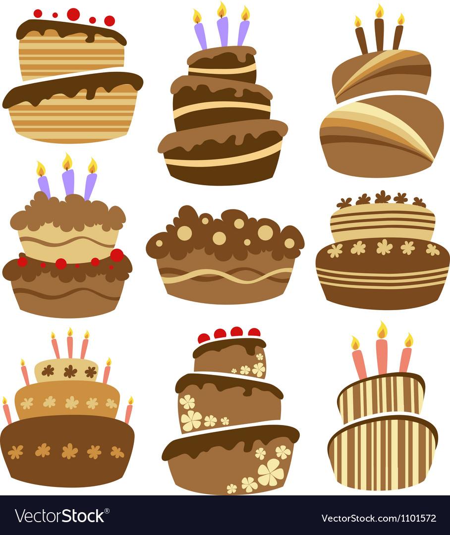 Abstract birthday cake set vector