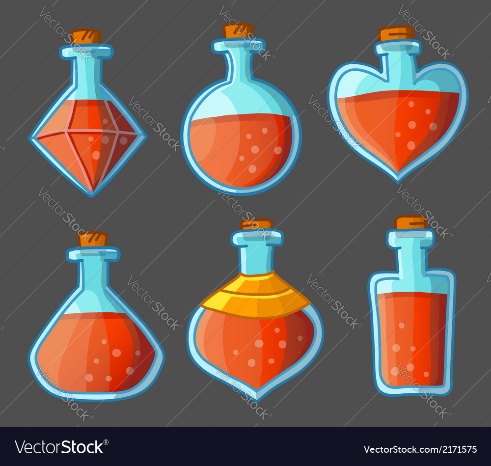 Collection of red magical bottles vector
