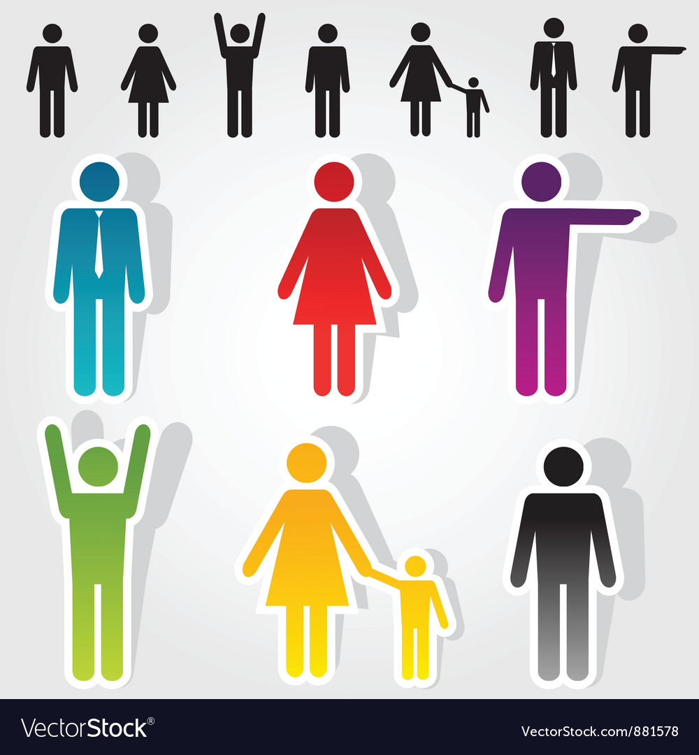 Colorful people icons vector