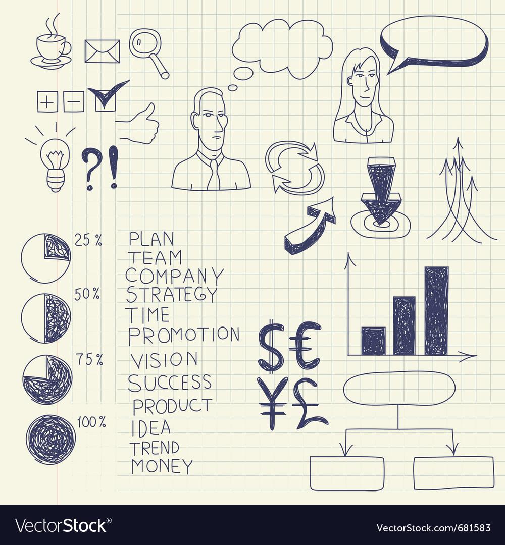 Business ink doodles vector