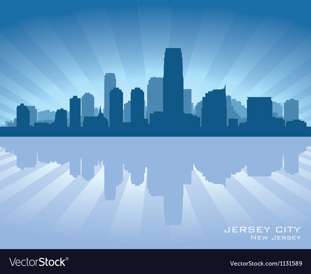 Jersey city new jersey skyline silhouette vector