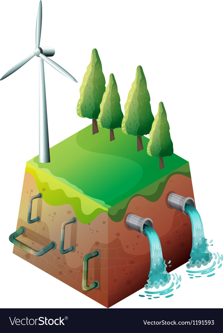 A windmill and water pipes vector
