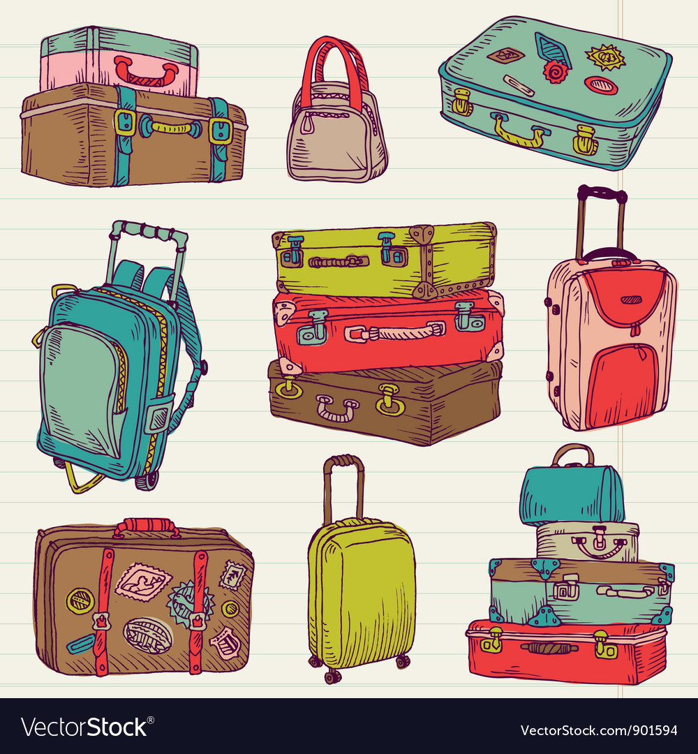 Set of vintage colorful suitcases vector