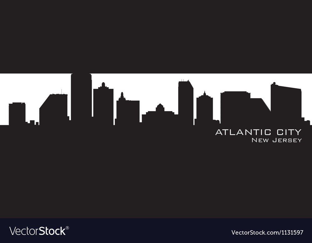 Atlantic city new jersey skyline detailed silhouet vector