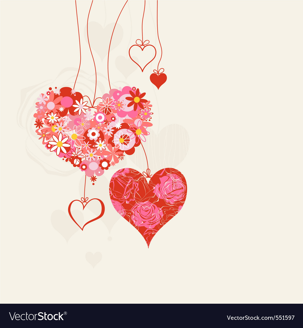 Hearts on strings vector