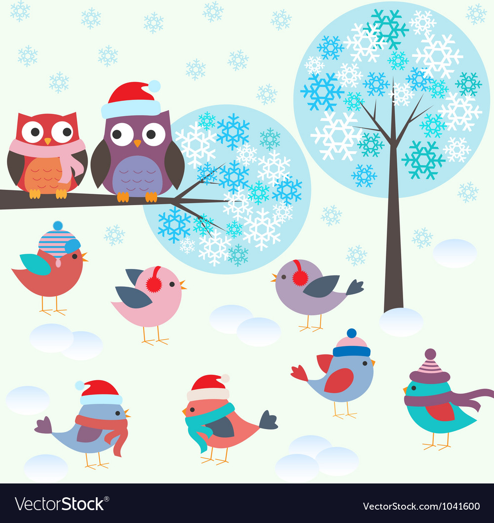 Birds and owls in winter forest vector