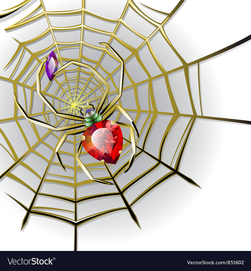 Jewelry spider on the gold web vector