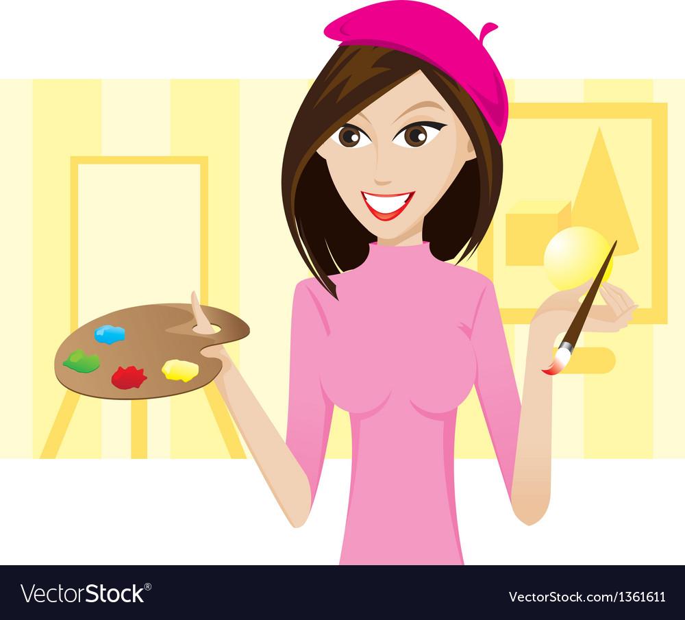 Girl artist vector