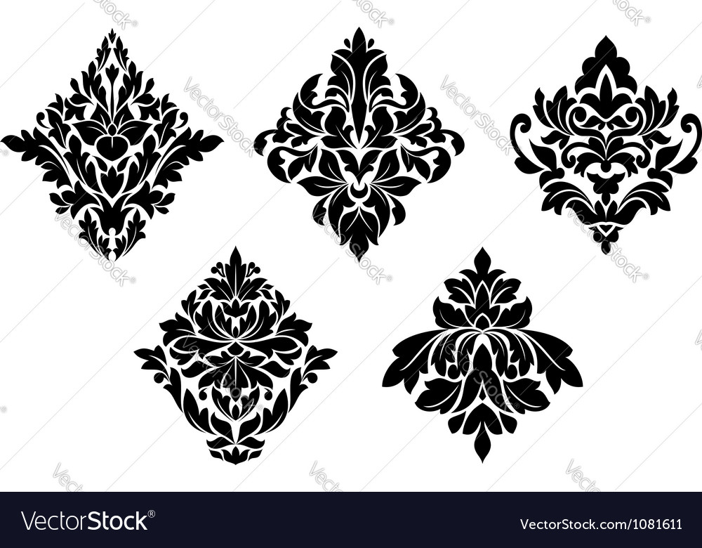 Set of vintage floral patterns and embellishments vector