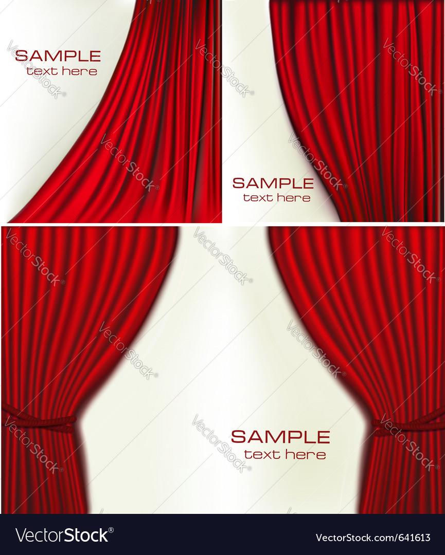 Red velvet curtains vector