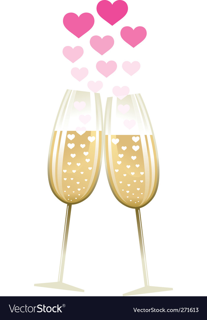 Two glasses with heart vector
