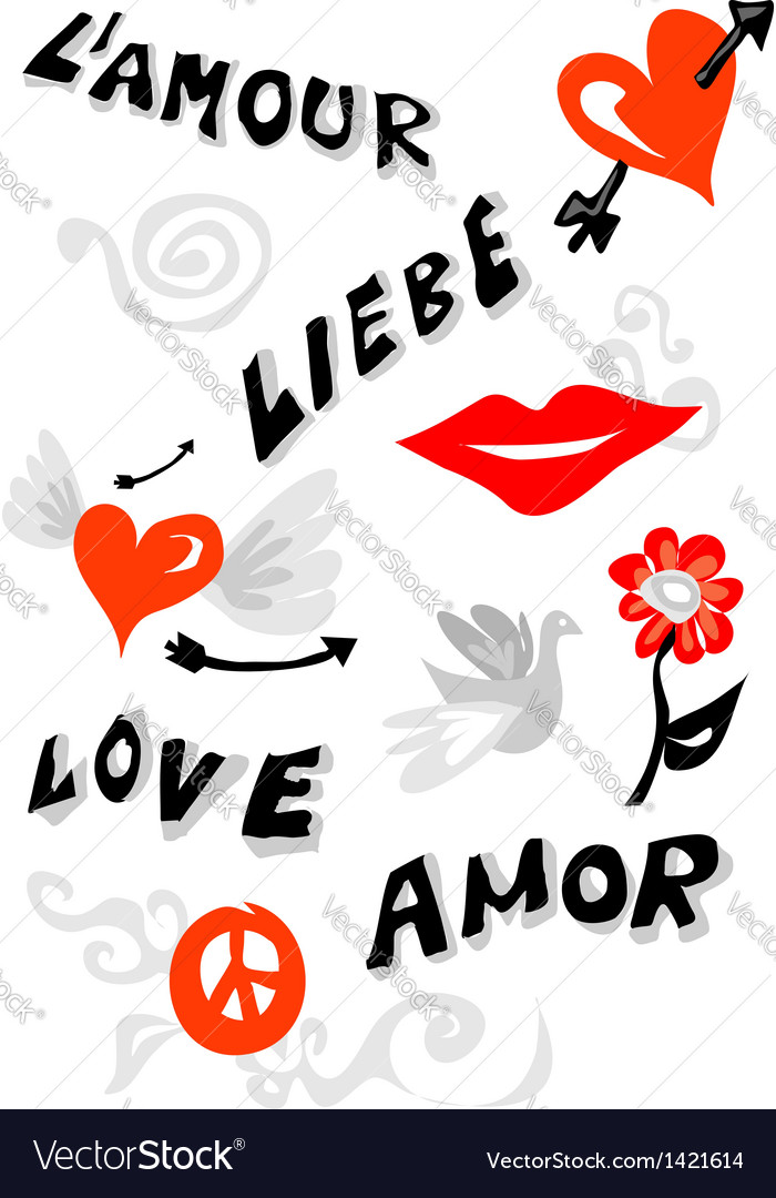 Love icons poster vector