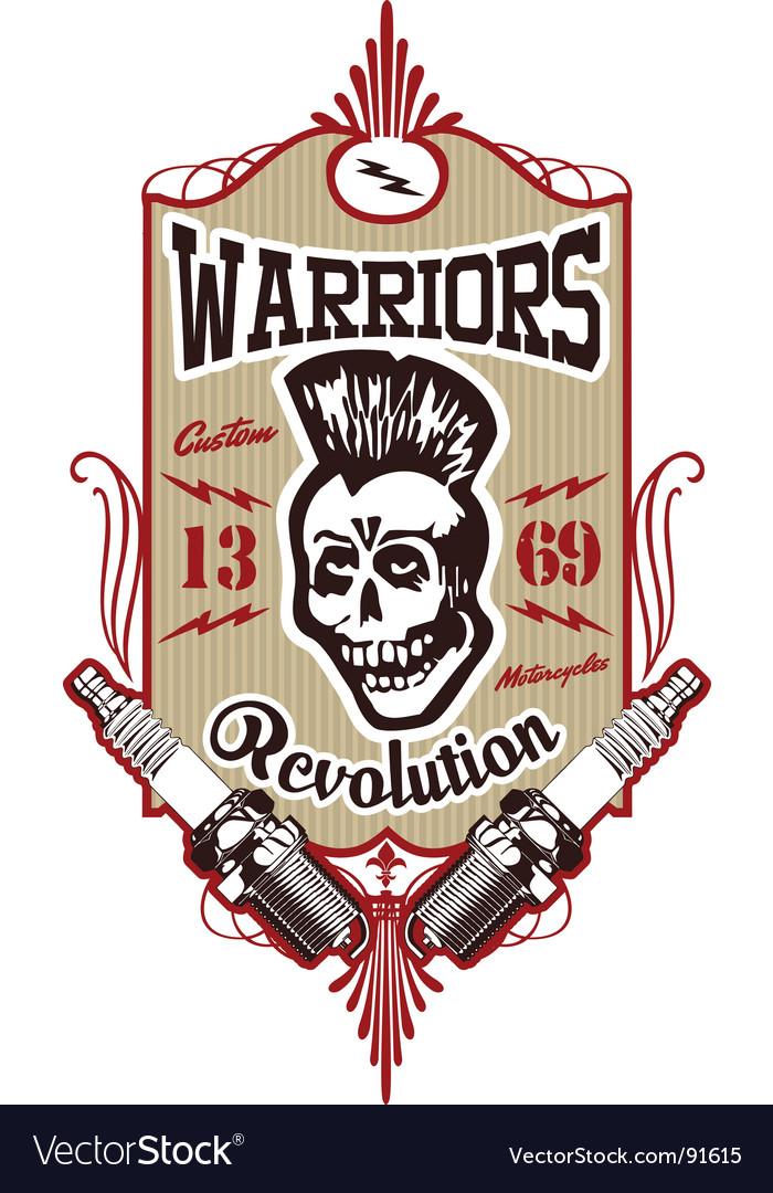 Skull punk warrior vector
