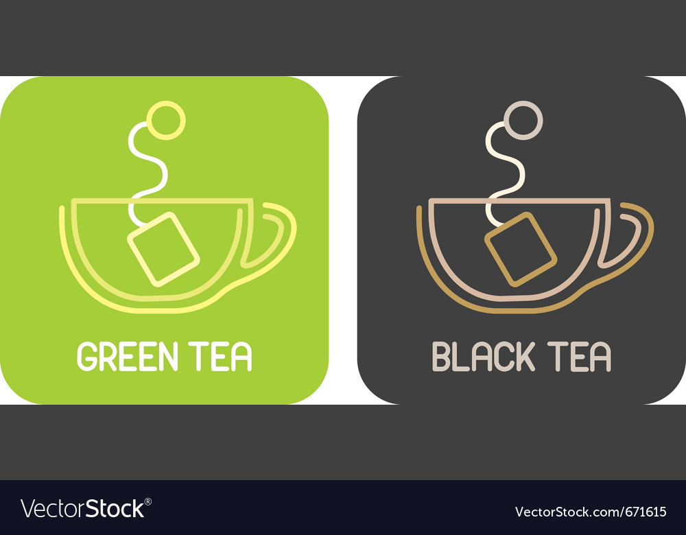 Tea of green tea and tea of black tea - isolated i vector