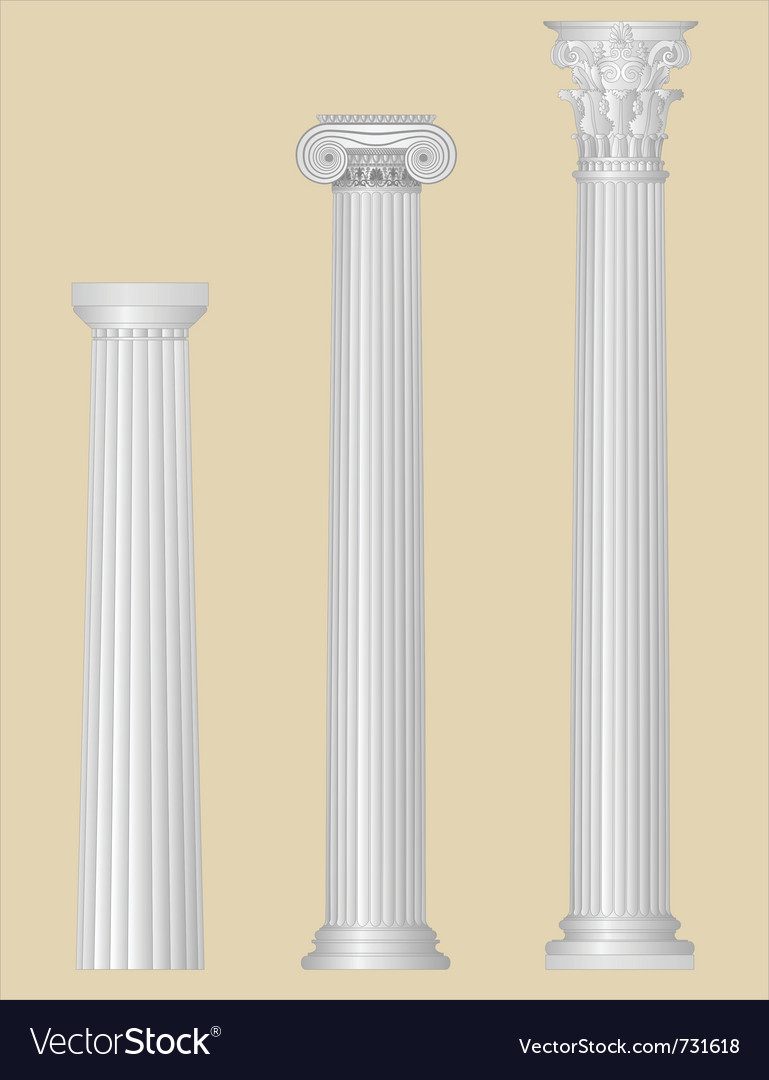 Greek columns with details vector