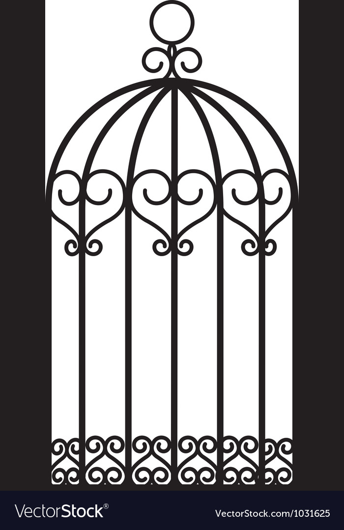 Antique bird cage vector