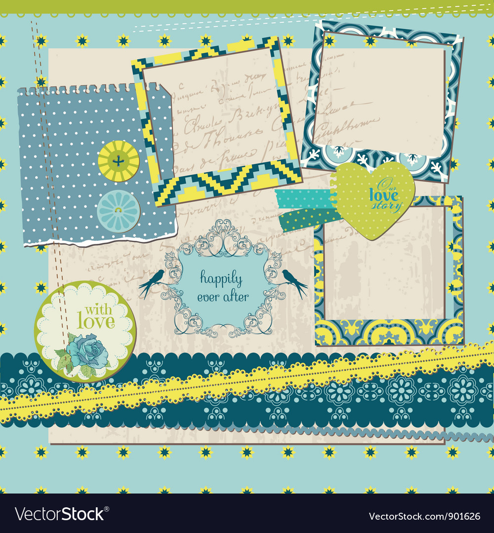 Scrapbook design elements - vintage tile with fram vector