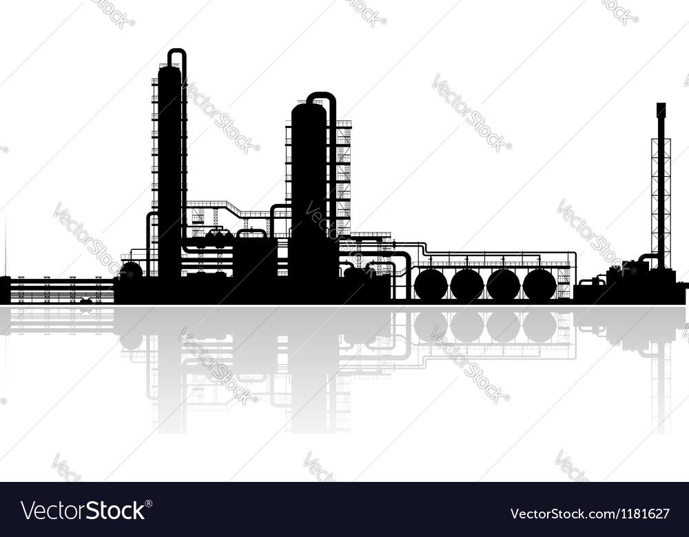 Oil refinery plant silhouette vector