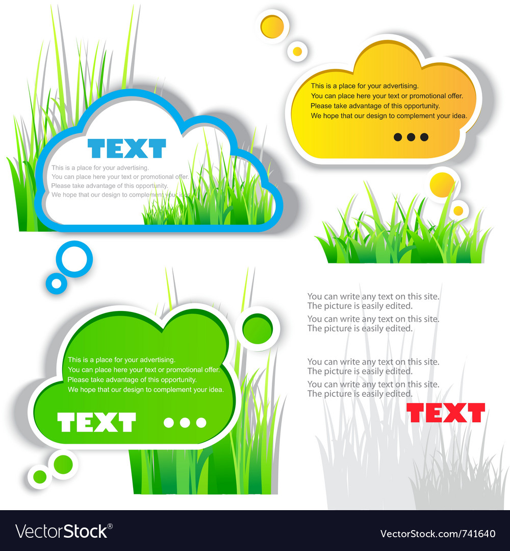 Colorful grass speech sticker vector