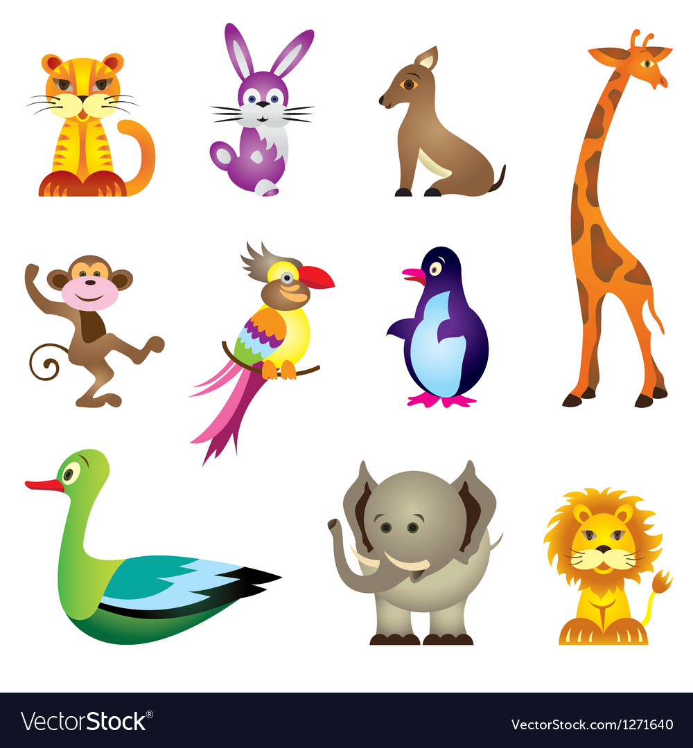 Wild animals toys vector