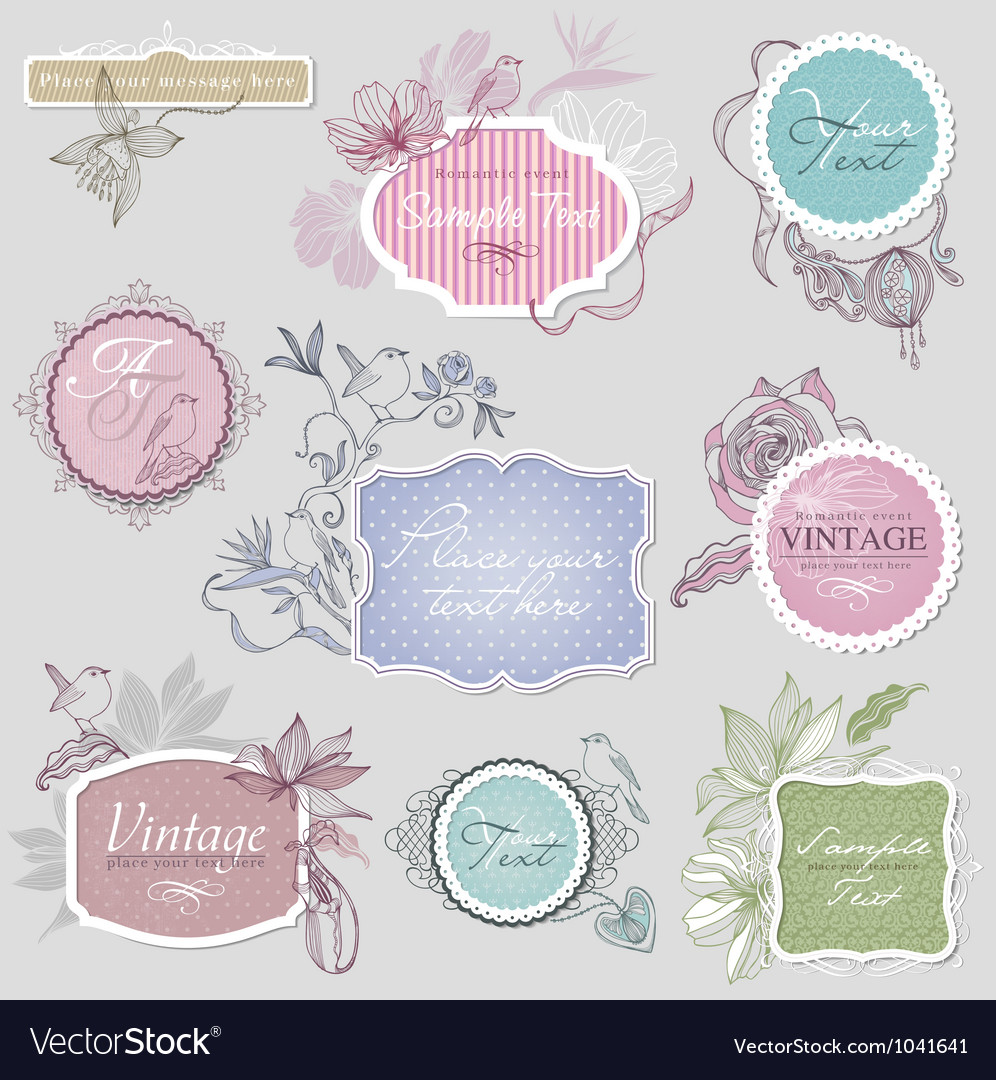 Vintage border set with birds vector