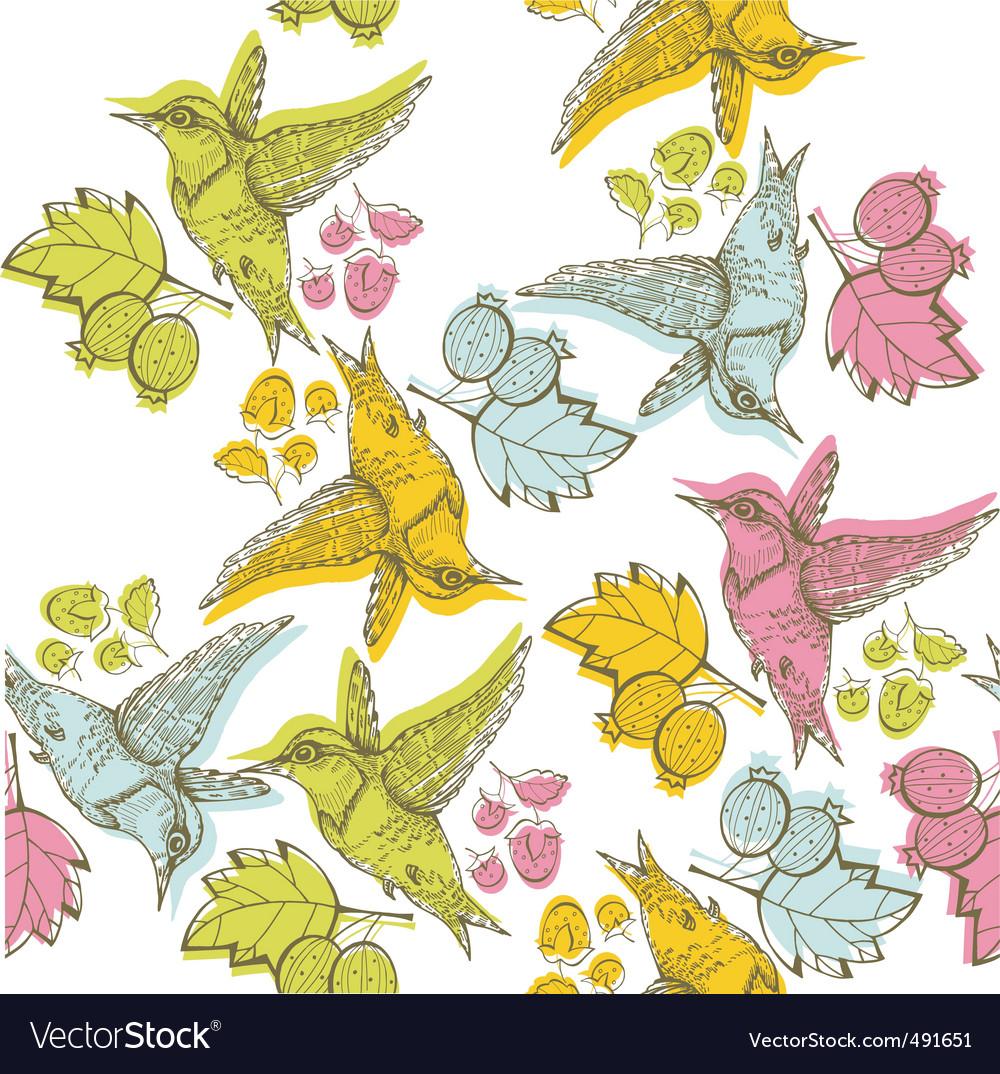 Etching bird print vector