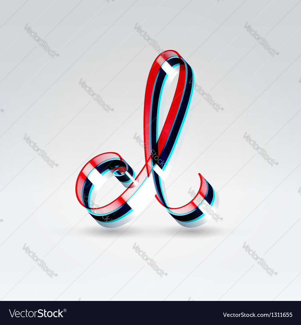 Fantasy plastic 3d glowing ribbon typeface vector