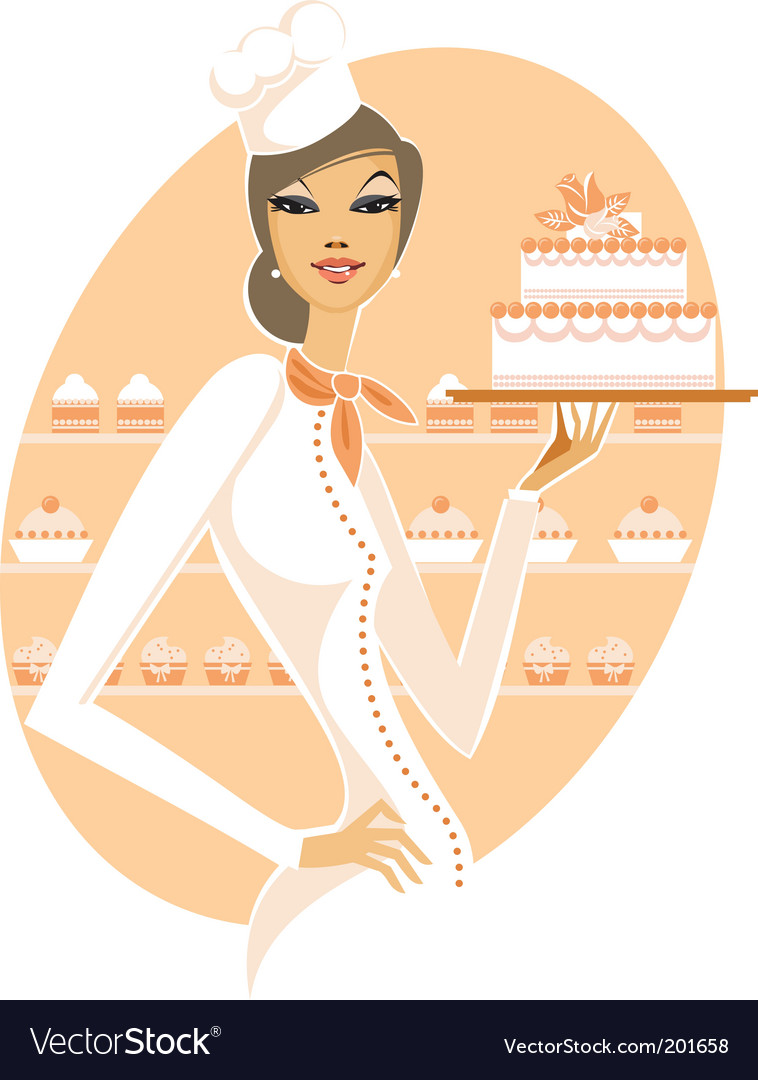 Chef girl with white cake vector