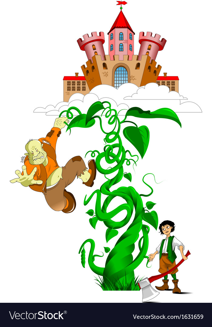 Kid and a giant on beanstalk vector