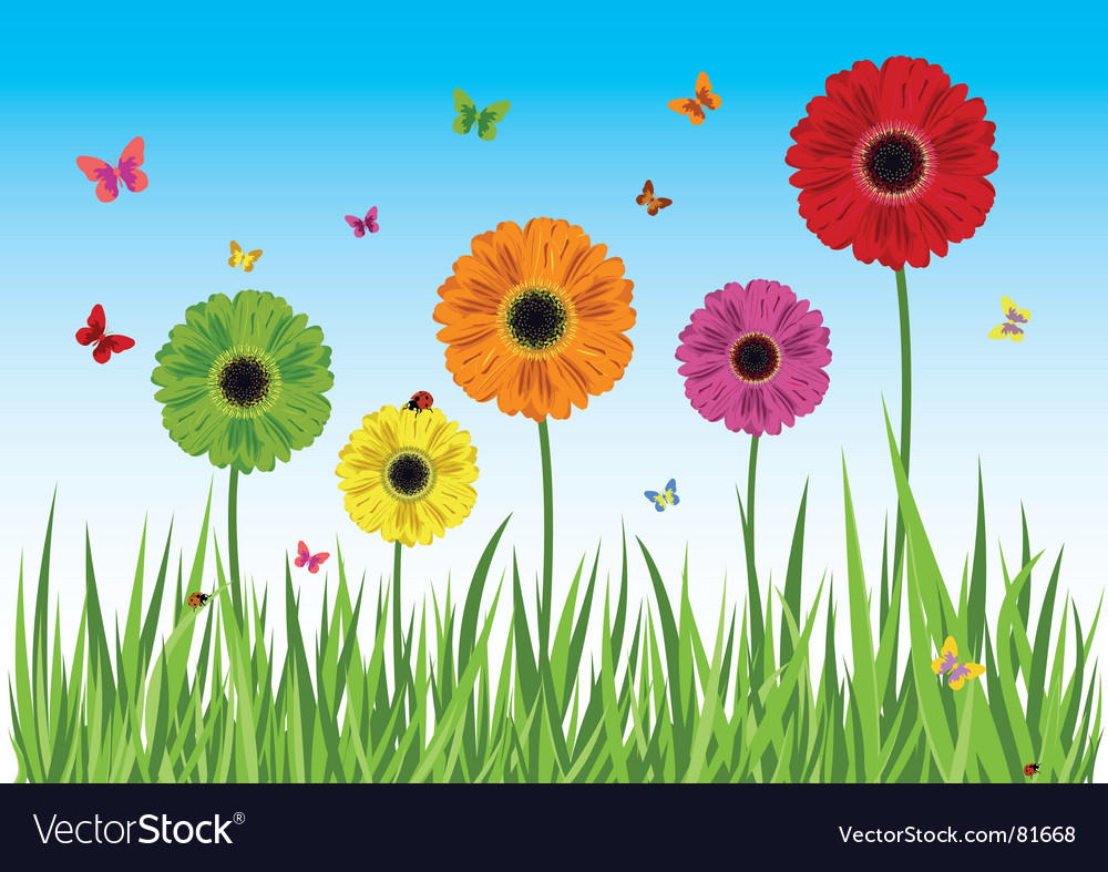 Spring scene vector