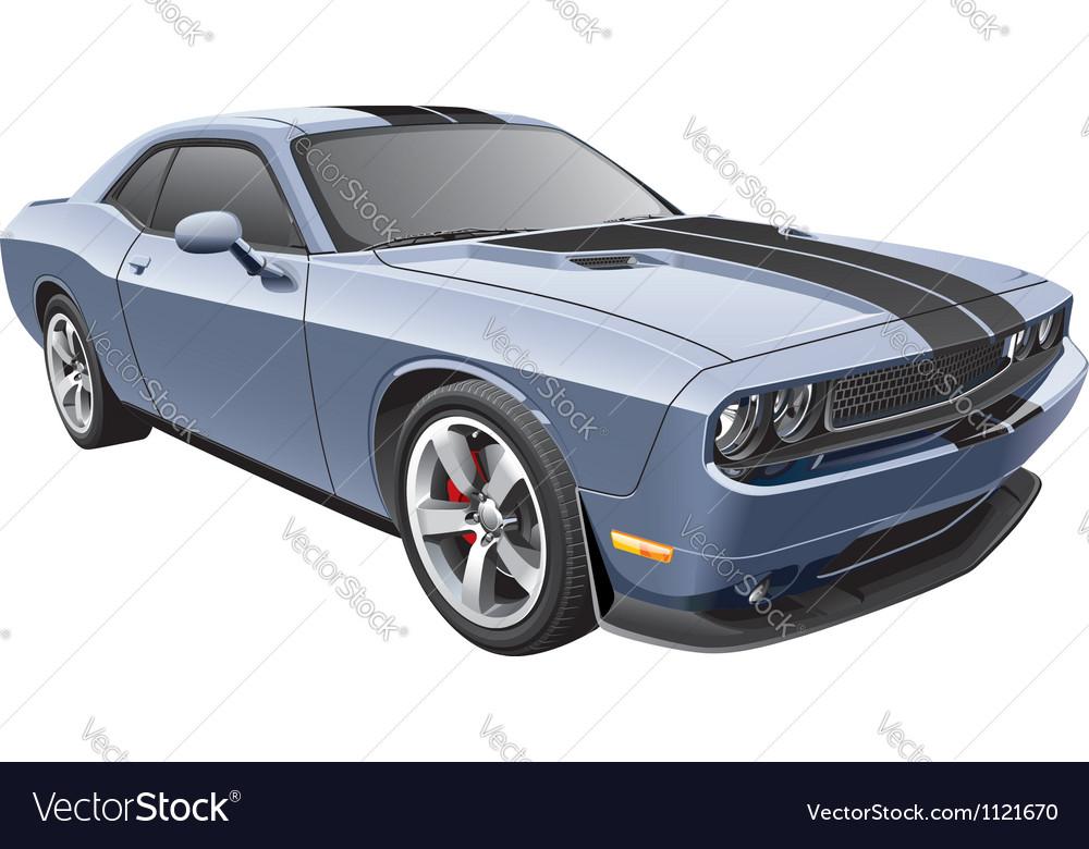 Grey muscle car vector