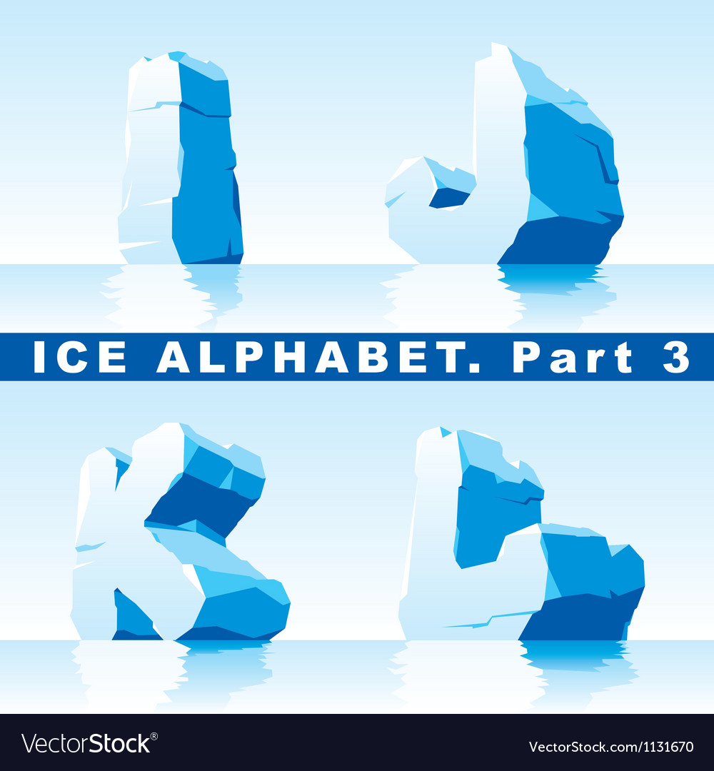 Ice alphabet part 3 vector