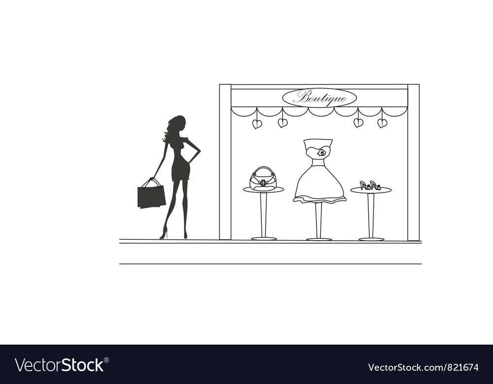 Free fashion girl shopping doodle vector