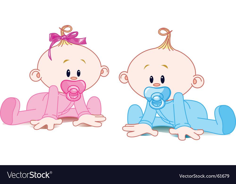 Two babies vector